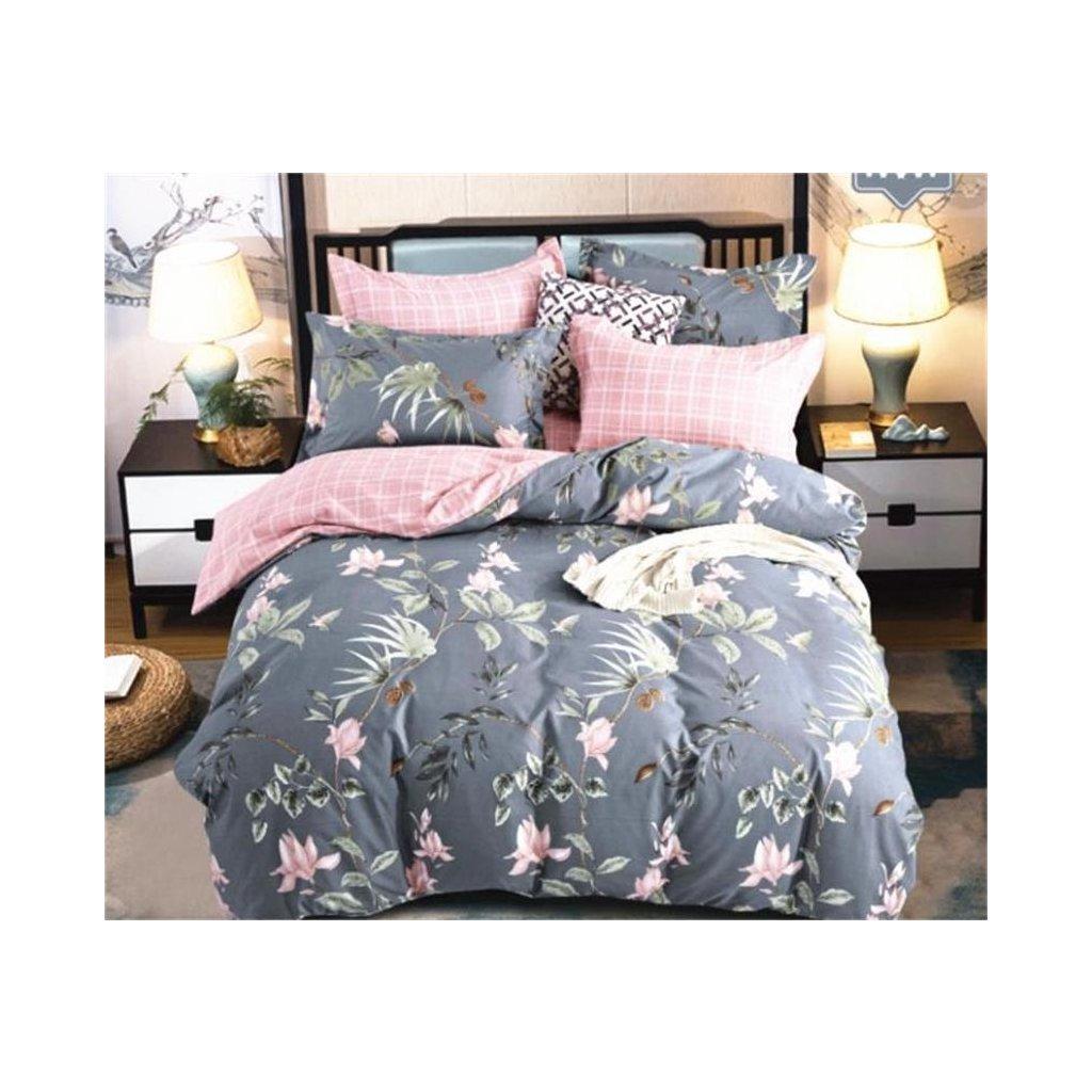 7-dílné flanelové povlečení květy šedá růžová 140x200 na dvě postele