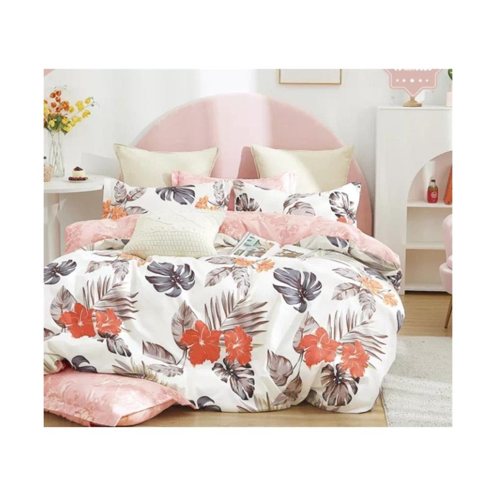 7-dílné flanelové povlečení listy a květy bílá růžová 140x200 na dvě postele
