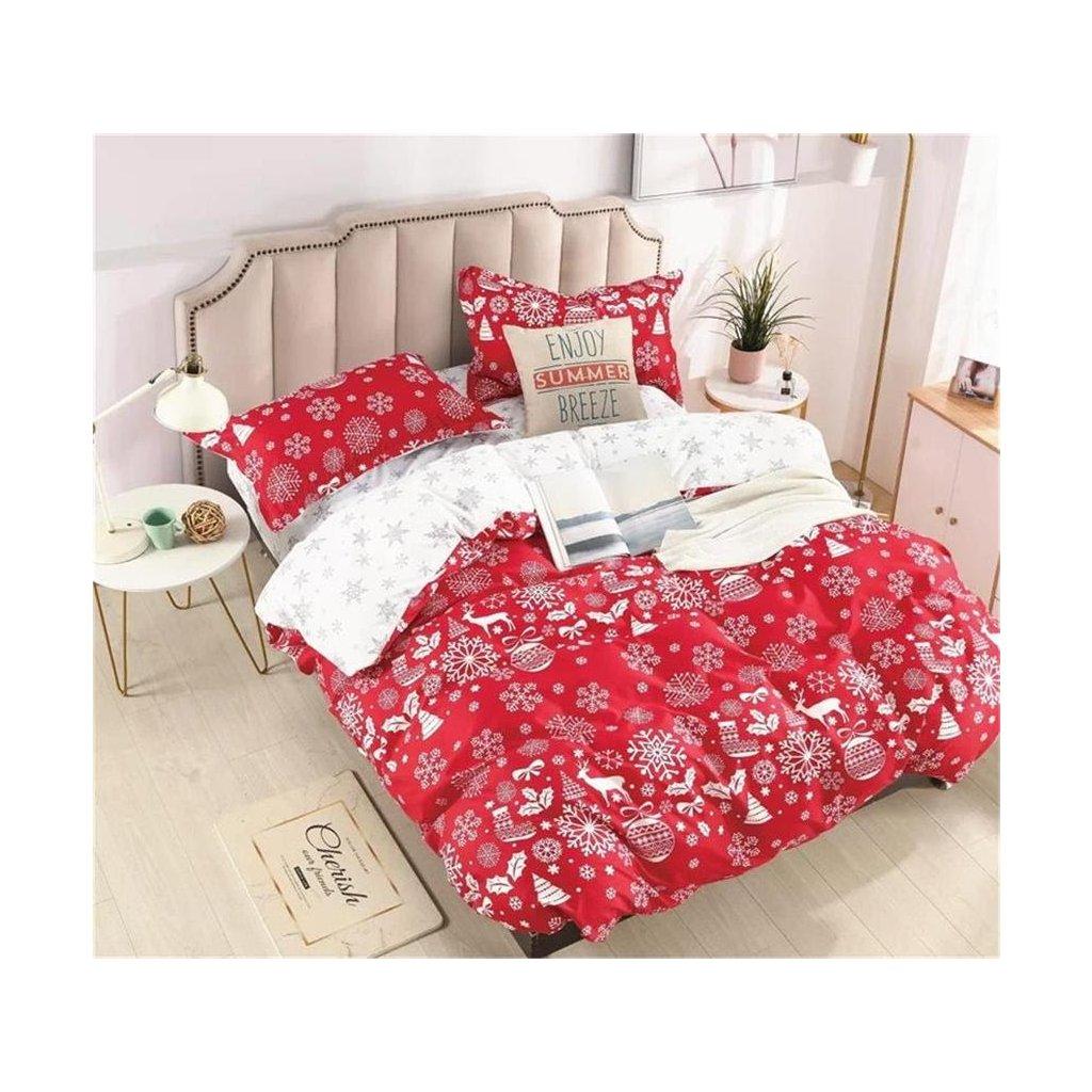 3-dílné povlečení vánoční motivy červená 140x200 na jednu postel