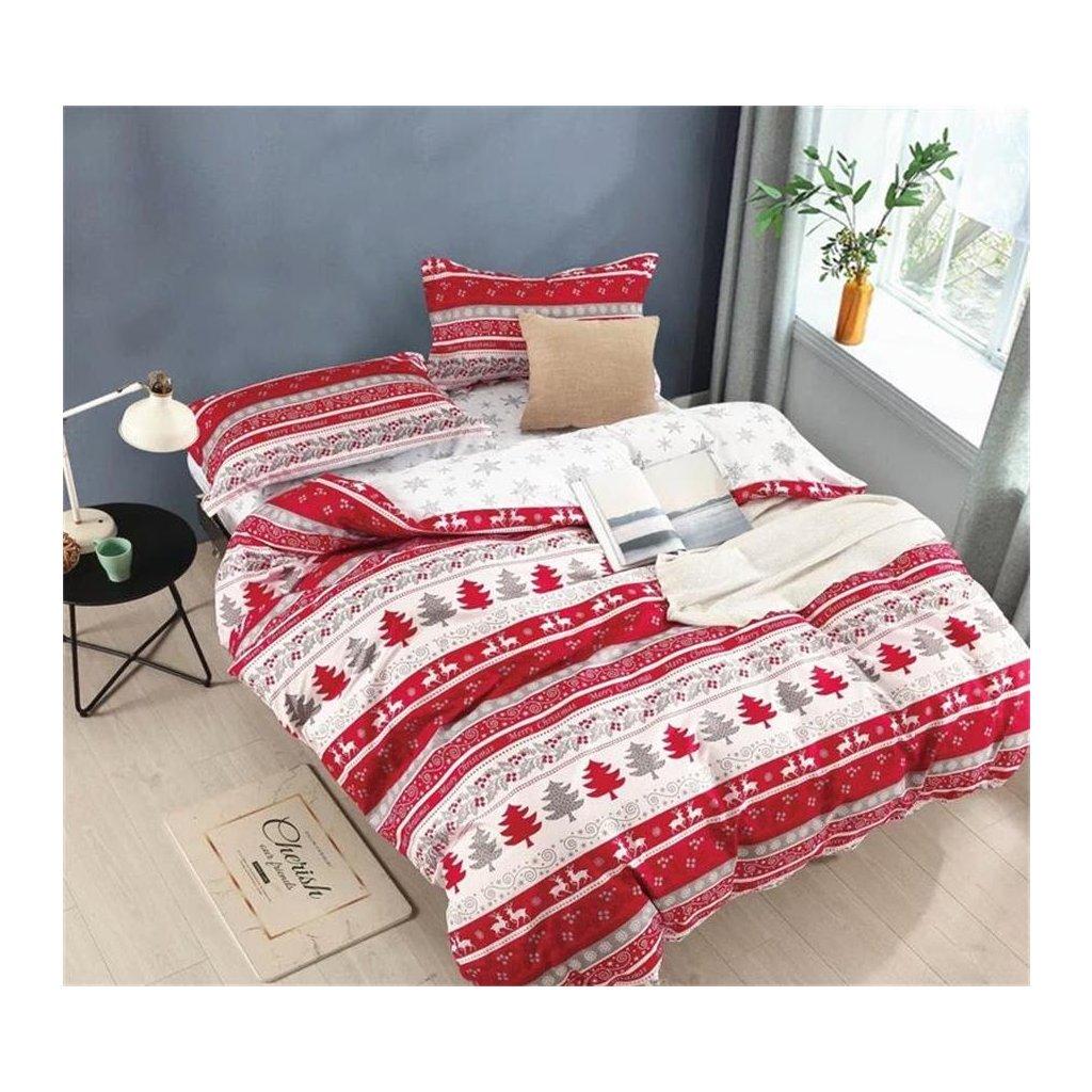 3-dílné povlečení vánoční vzory červená bílá 140x200 na jednu postel