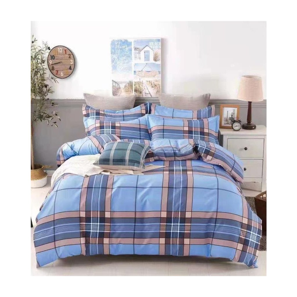 2-dílné povlečení kárované modrá béžová 140x200 na jednu postel