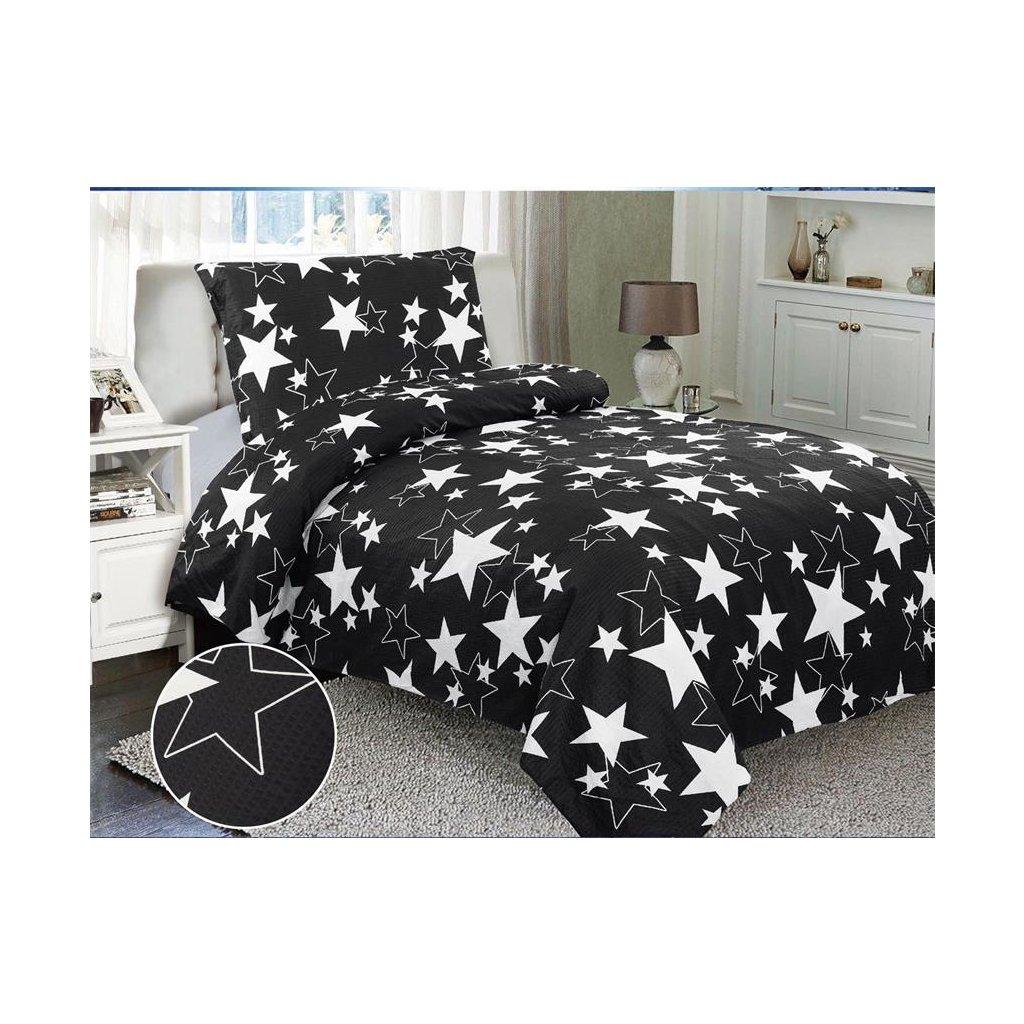 Dvoudílné krepové povlečení hvězdy černá bílá 140x200 na jednu postel