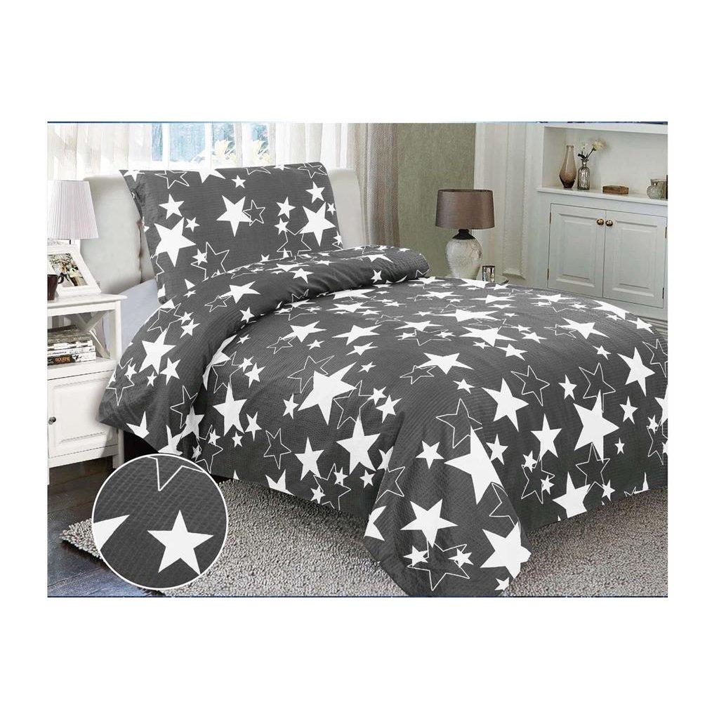 Krepové povlečení hvězdy šedá bílá