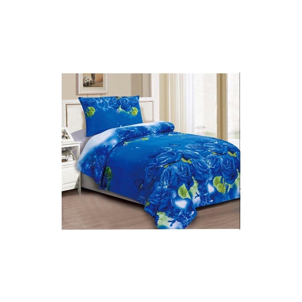 Dvoudílné povlečení bavlna/mikrovláno růže modrá 140x200