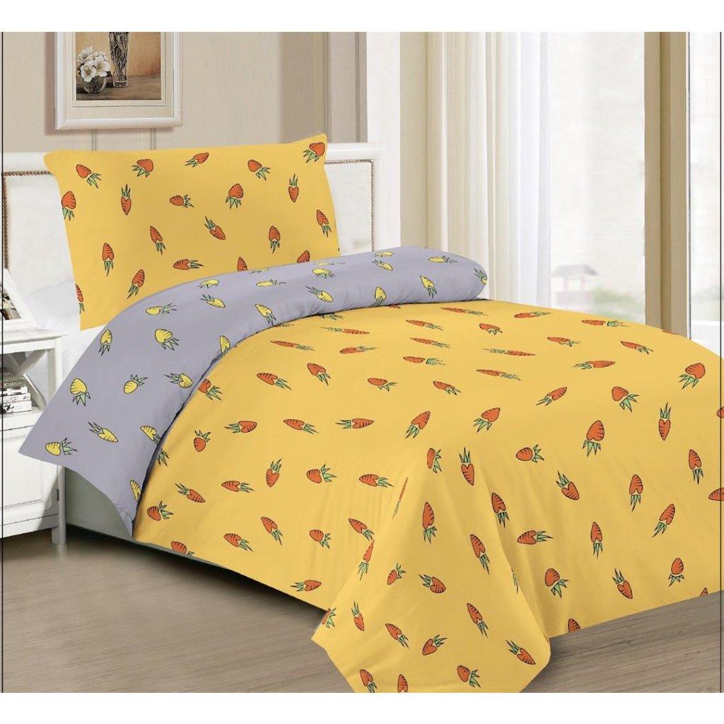 Dvoudílné povlečení bavlna mikrovlákno mrkev žlutá 140x200