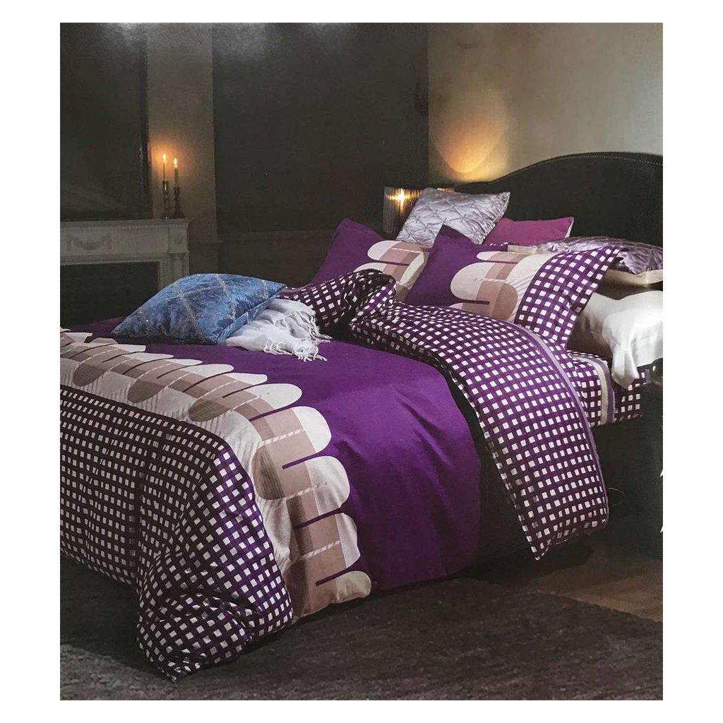 Dvoudílné povlečení bavlna + mikrovlákno vlny fialová 140x200