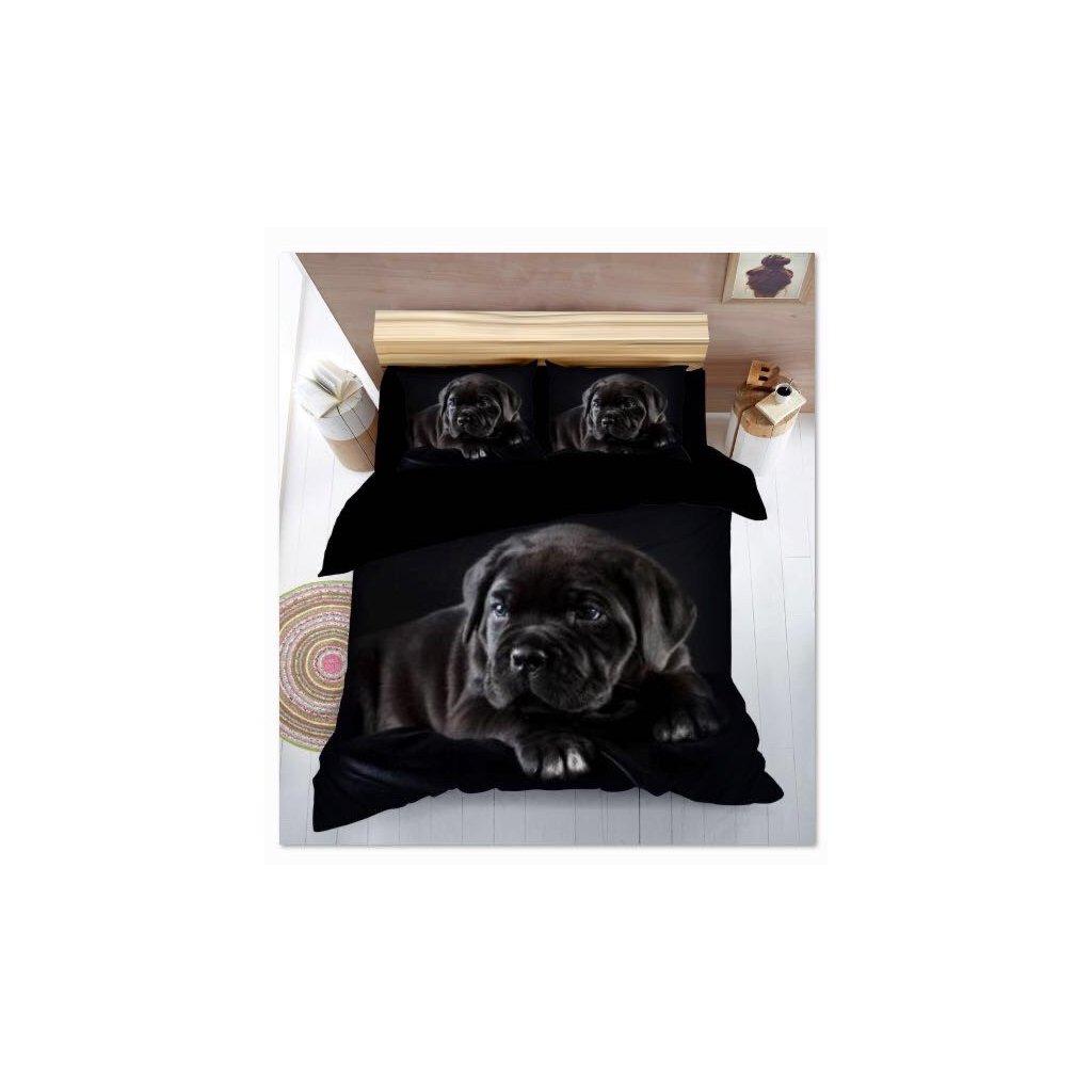Sedmidílné povlečení pes 3 D pes černá 140x200 na dvě postele