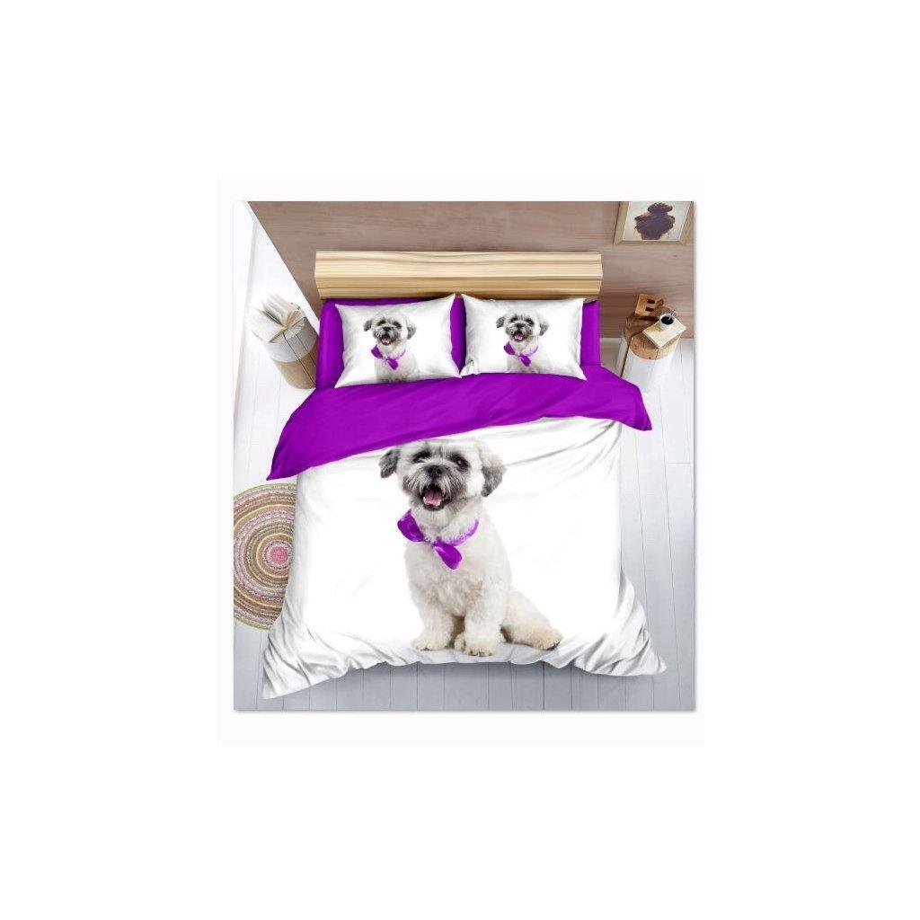 Sedmidílné povlečení 3 D pes bílá 140x200 na dvě postele