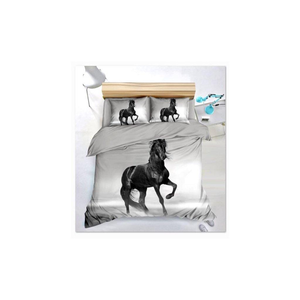 Sedmidílné povlečení kůň 3 D šedá černá 140x200 na dvě postele