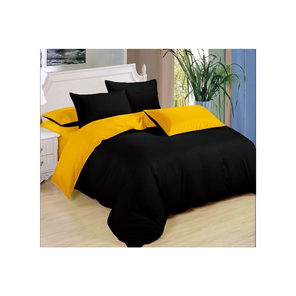 Sedmidílné povlečení bavlna/mikrovlákno černá žlutá 140x200 na dvě postele