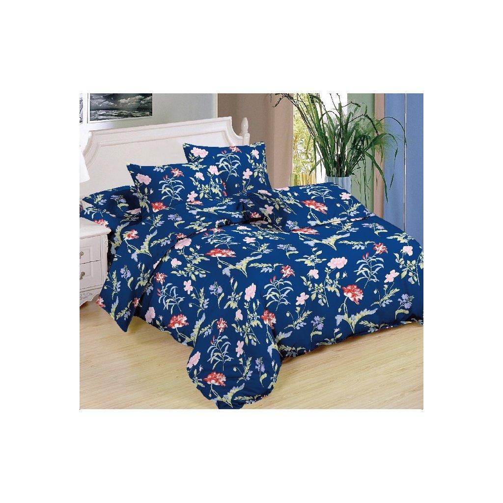 Sedmidílné povlečení různé květy bavlna/mikrovlákno modrá 140x200 na dvě postele