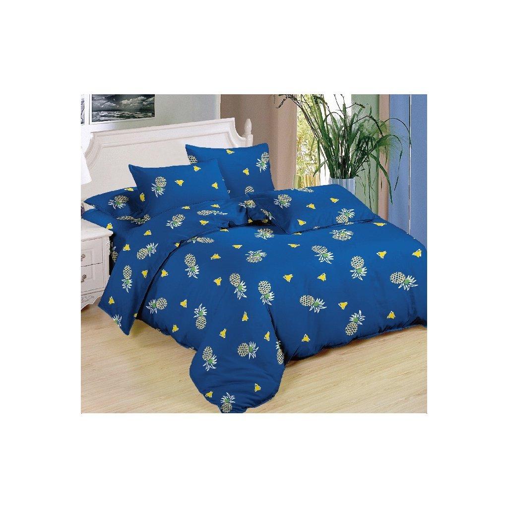 Sedmidílné povlečení ananas modrá bavlna/mikrovlákno 140x200 na dvě postele