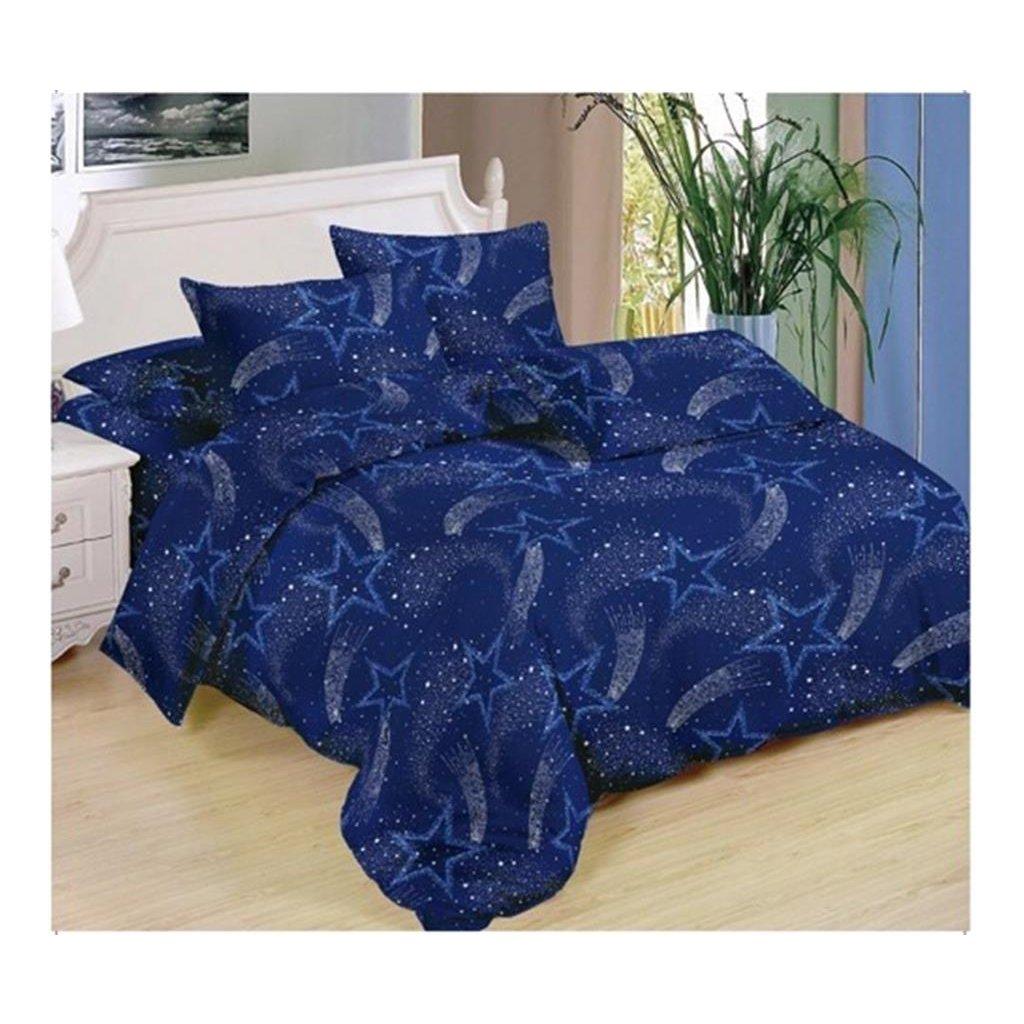 Sedmidílné povlečení kometa bavlna/mikrovlákno modrá 140x200 na dvě postele
