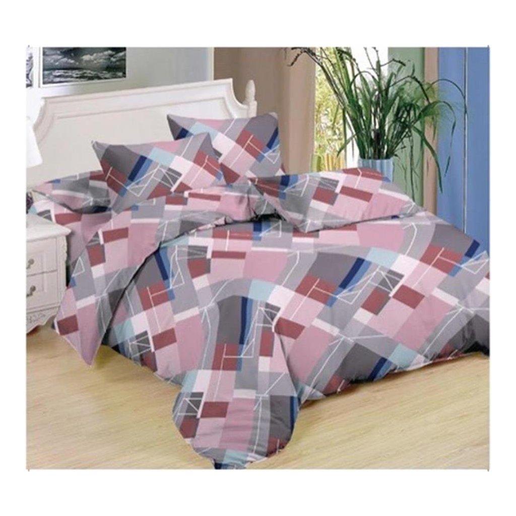 7-dílné povlečení geom.vzor bavlna/mikrovlákno růžová šedá 140x200 na dvě postele