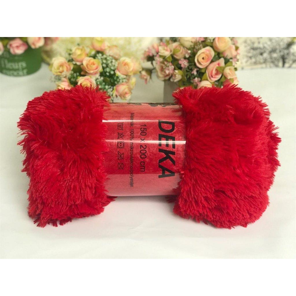 Luxusní deka s dlouhým vlasem 150 x 200 cm červená
