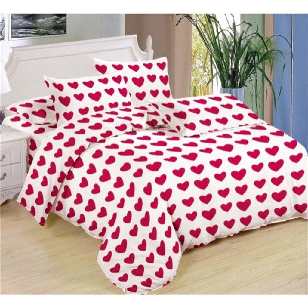 7-dílné povlečení srdce bavlna/mikrovlákno bílá červená 140x200 na dvě postele