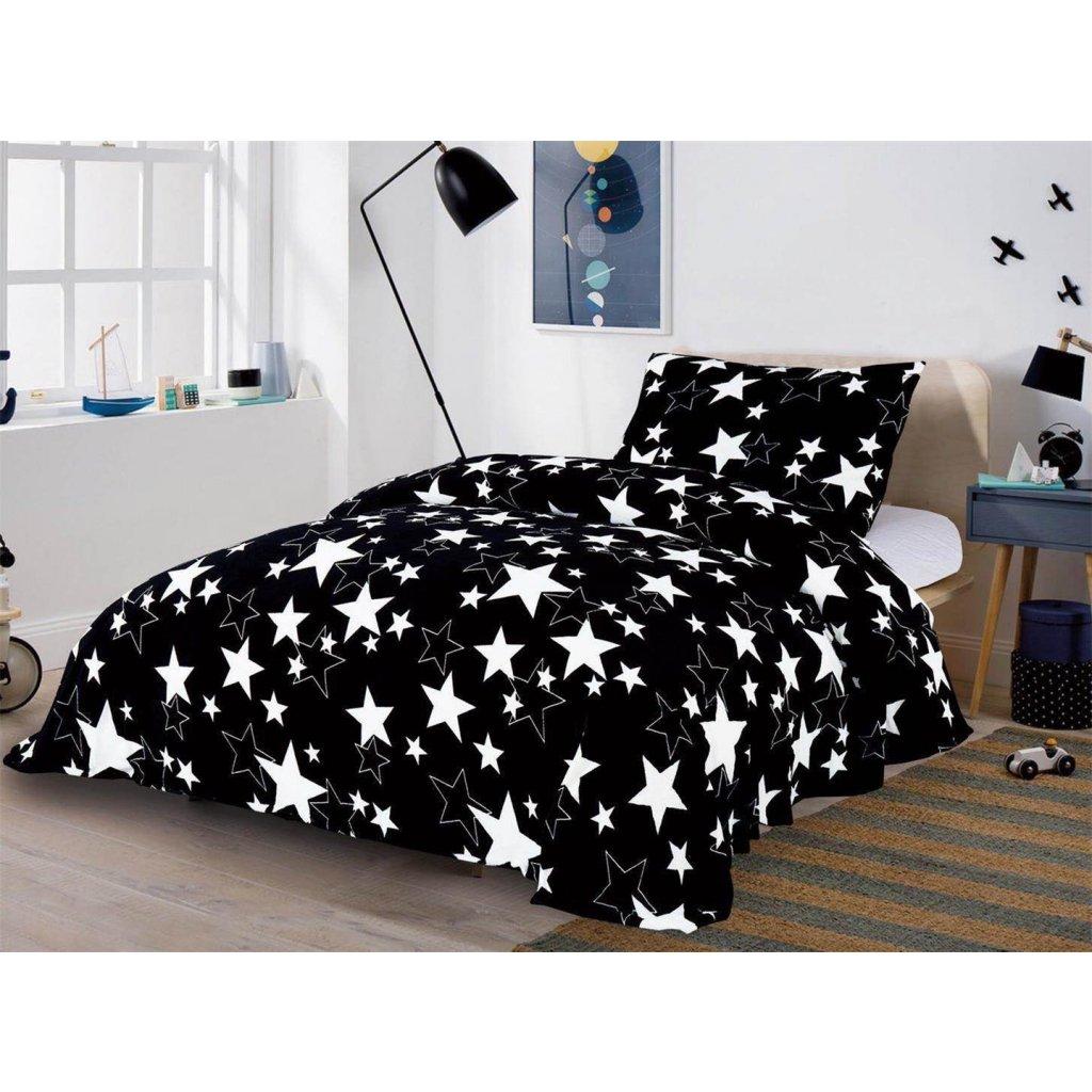 Dvoudílné povlečení mikroplyš hvězdy černá bíla 140x200
