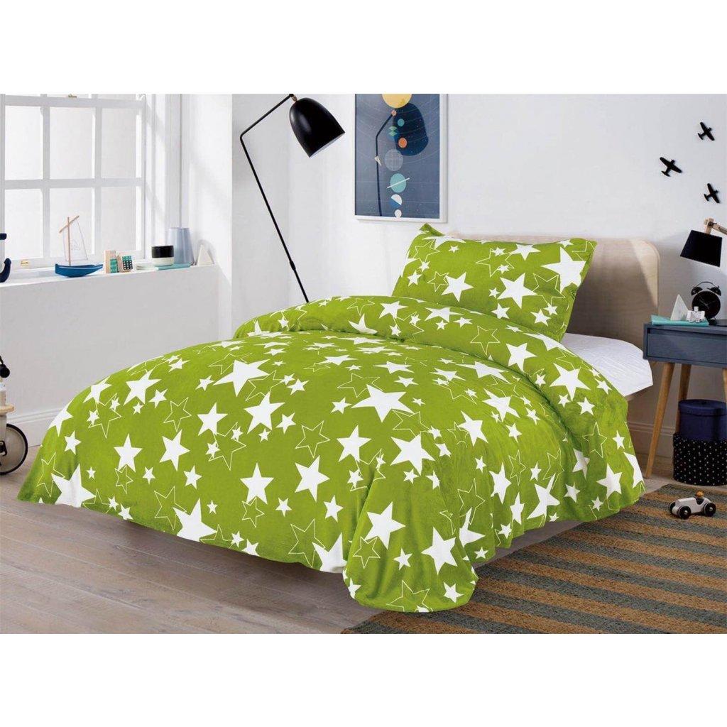 Dvoudílné povlečení mikroplyš hvězdy zelená140x200