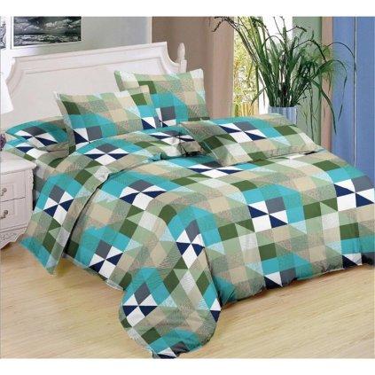7-dílné povlečení geom.vzor bavlna/mikrovlákno zelená šedá 140x200 na dvě postele