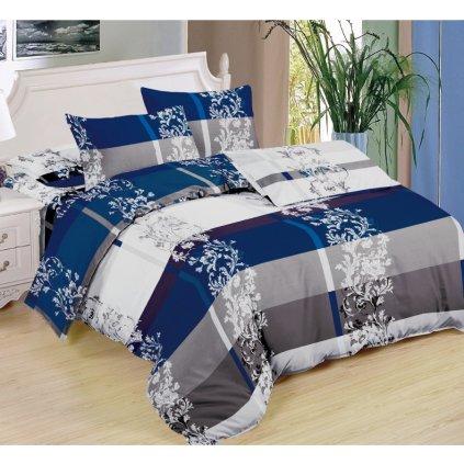 Sedmidílná souprava povlečení ornamenty bavlna/mikrovlákno modrá šedá bílá 140x200 na dvě postele