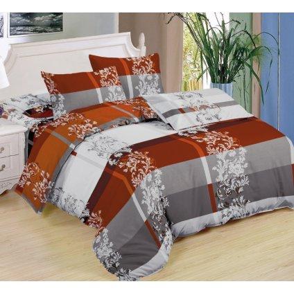 Sedmidílné povlečení ornamenty bavlna/mikrovlákno hnědá šedá bílá 140x200 na dvě postele