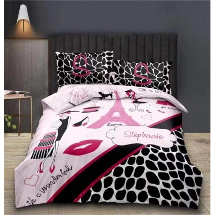 Sedmidílná souprava povlečení Stephanie 3 D růžová 140x200 na dvě postele