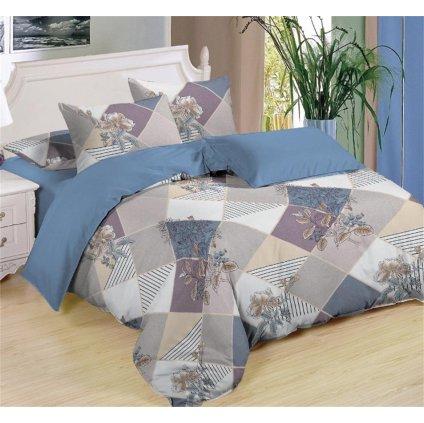 Sedmidílné povlečení geom.vzory květy bavlna/mikrovlákno 140x200 na dvě postele