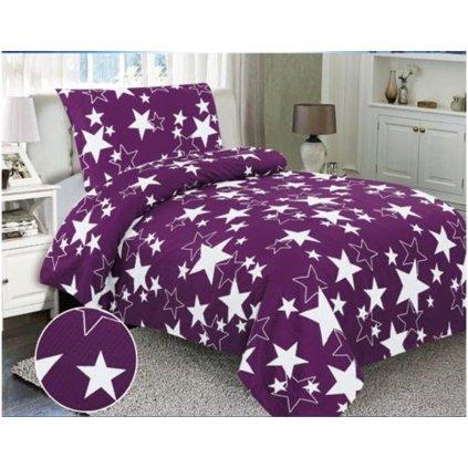 Dvoudílné krepové povlečení hvězdy fialová bílá
