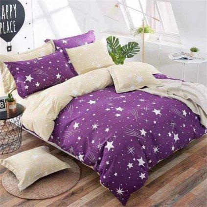 Sedmidílné povlečení obloha bavlna/mikrovlákno fialová béžová 140x200 na dvě postele