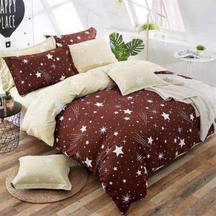 Sedmidílné povlečení obloha bavlna/mikrovlákno hnědá béžová 140x200 na dvě postele