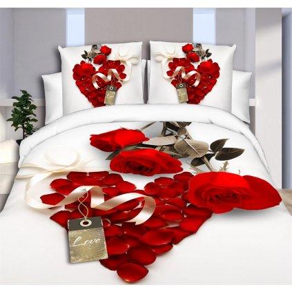 Sedmidílné povlečení 3 D růže červená 140x200 na dvě postele