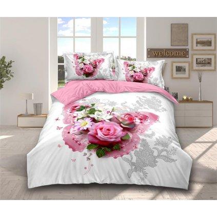Sedmidílné povlečení 3 D romantická kytice bílá růžová 140 x200 na dvě postele