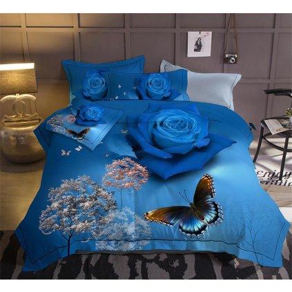 Sedmidílné povlečení 3 D růže modrá 140x200 na dvě postele