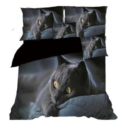 Sedmidílná souprava kočka 3D šedá modrá 140x200 na dvě postele