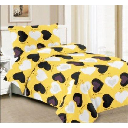 Dvoudílné povlečení srdce bavlna/mikrovlákno žlutá 140x200 na jednu postel