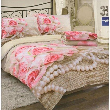 Čtyřdílné povlečení růže a perly 3 D 140x200 na dvě postele