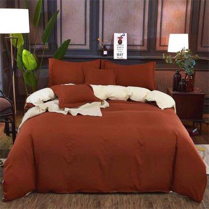 Sedmidílné povlečení bavlna/mikrovlákno hnědá béžová 140x200 na dvě postele