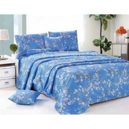 Osmidílné povlečení malé květiny bavlna/mikrovlákno modrá 140x200 na dvě postele