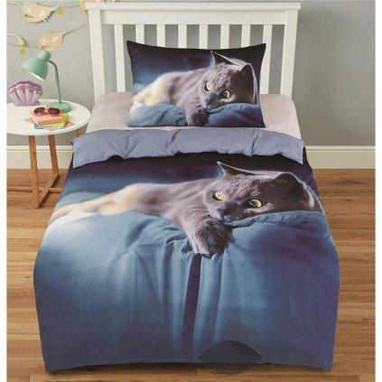 2-dílné povlečení kočka 3 D šedá modrá 140x200 na jednu postel