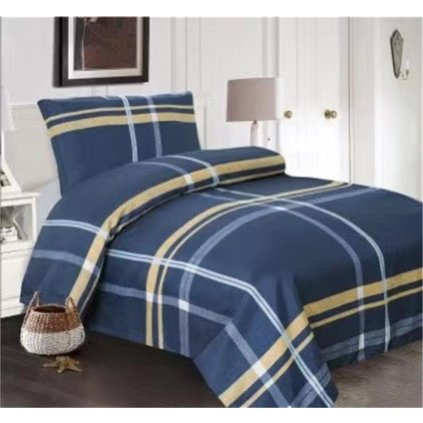 Dvoudílné povlečení kárované bavlna/mikrovlákno modrá 140 x 200 na jednu postel