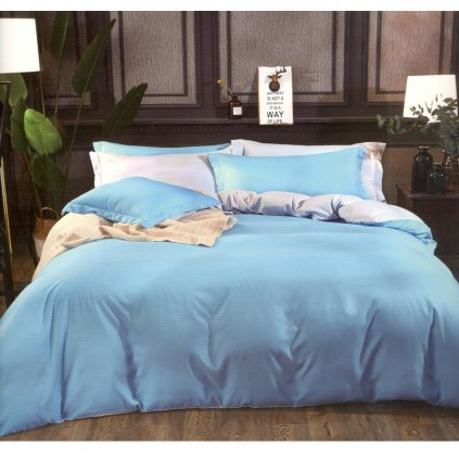 Sedmidílné povlečení bavlna/mikrovlákno modrá šedá 140x200 na dvě postele