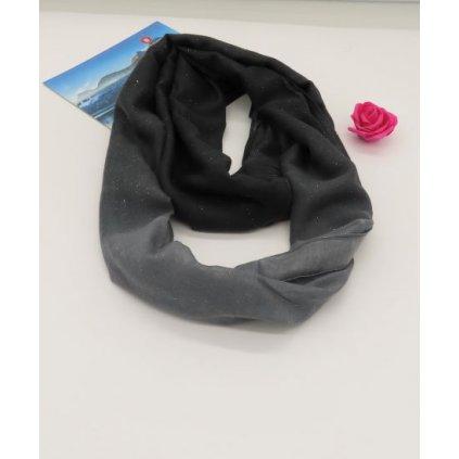 Tunelový šátek s flitry černá šedá