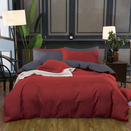 Sedmidílné povlečení bavlna/mikrovlákno vínová šedá 140x200 na dvě postele