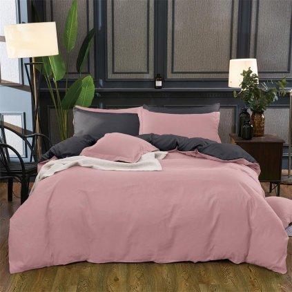 Sedmidílné povlečení růžová šedá 140x200 na dvě postele