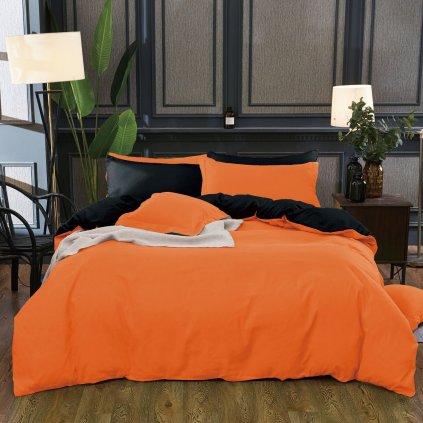 Sedmidílné povlečení bavlna/mikrovlákno oranžová černá 140x200 na dvě postele