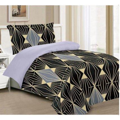 Dvoudílné povlečení diamant bavlna/mikrovlákno černá 140x200 na jednu postel