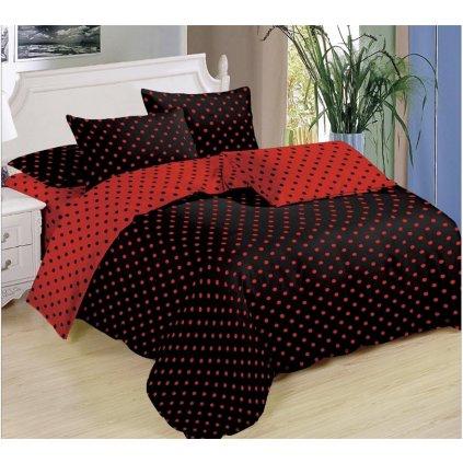 Sedmidílné povlečení puntíky bavlna mikrovlákno černá červená 140x200 na dvě postele