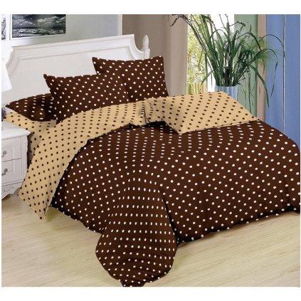 Sedmidílné povlečení puntíky bavlna mikrovlákno hnědá žlutá 140x200 na dvě postele