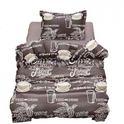 Povlečení bavlna/mikrovlákno Coffee 140x200 na jednu postel