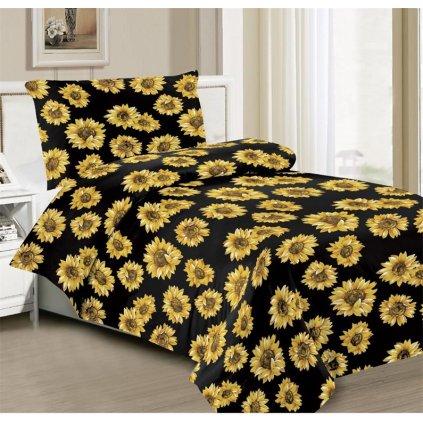 Povlečení slunečnice bavlna/mikrovlákno černá žlutá 140x200 na jednu postel